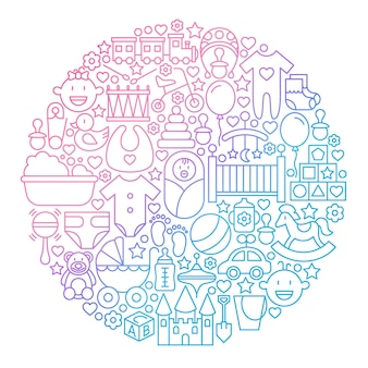 Baby linie symbol kreis design. vektor-illustration von kinder- und kinderspielzeug umreißen objekte.