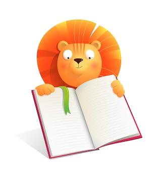 Baby-löwe, der ein leeres notizbuch hält oder ein buch liest, studiert oder eine präsentation macht