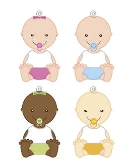 Baby lokalisiert über weißer hintergrundvektorillustration