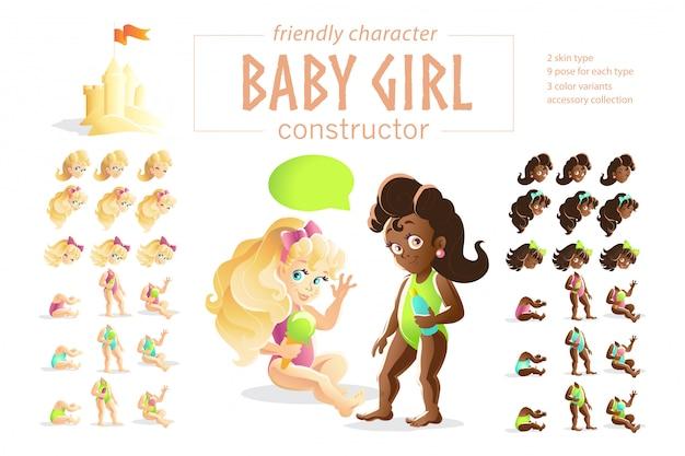 Baby mädchen charaktere. illustration.