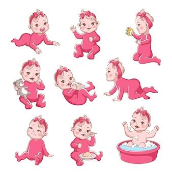 Baby mädchen design illustration Premium Vektoren