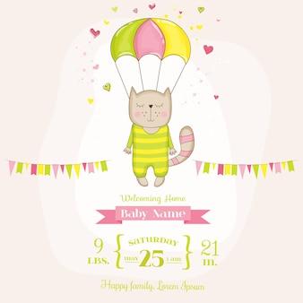 Baby mädchen katze fliegt mit einem fallschirm
