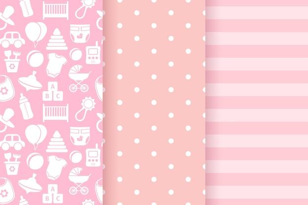 Baby mädchen muster. nahtloses muster der babyparty. rosa pastell kindischer textildruck.