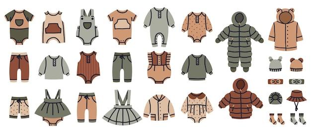 Baby mädchen und jungen mode kleidung kinder kleidung vektor kindergarten illustration set