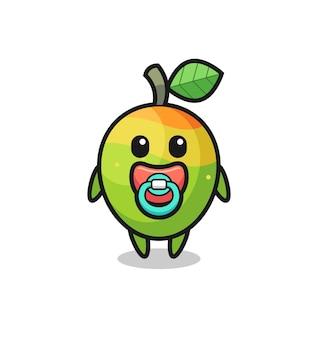 Baby-mango-cartoon-figur mit schnuller, süßes design für t-shirt, aufkleber, logo-element Premium Vektoren