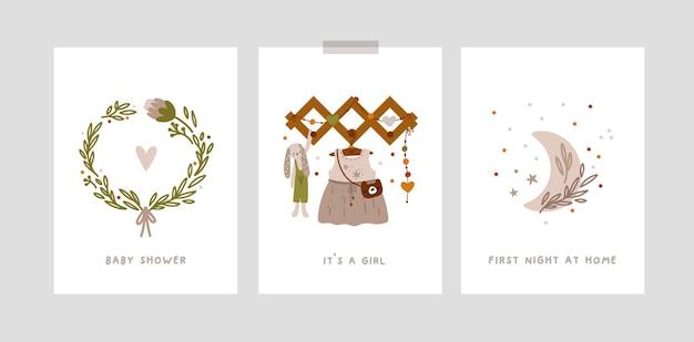 Baby-meilensteinkarten mit zeichentrickfiguren für kindergartendrucke des neugeborenen mädchens im boho-stil