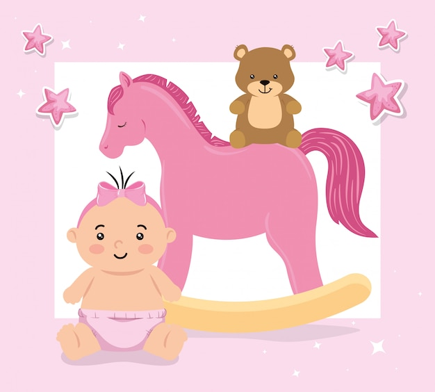 Baby mit hölzernem pferdespielzeug und teddybärillustration