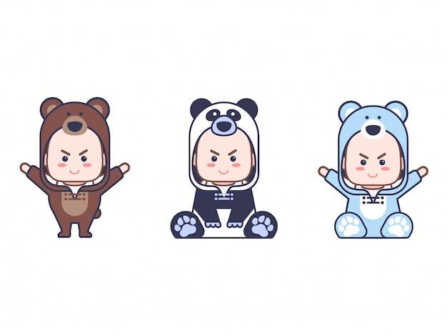 Baby mit panda, bär und eisbär kostüme anzug mit jeder pose