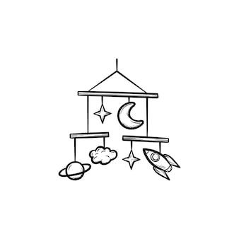 Baby mobile spielzeug handgezeichnete umriss doodle symbol. babymobile spielsachen als konzept der kinderschlafvektorskizzenillustration für druck, netz, handy und infografiken lokalisiert auf weißem hintergrund.