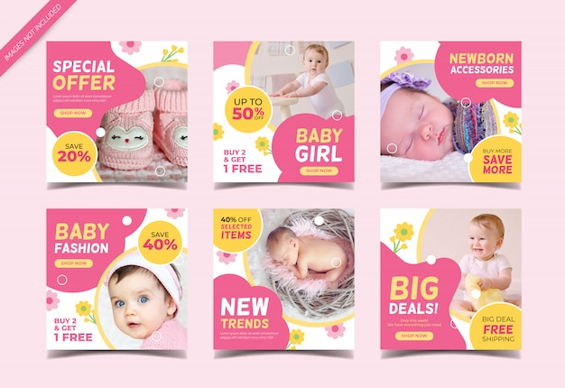 Baby mode verkauf instagram post sammlung vorlage