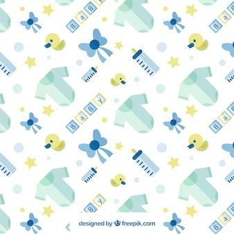 Baby-muster mit blauen und gelben elementen in flacher bauform