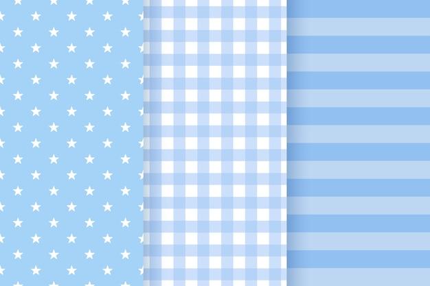 Baby-muster. nahtloses muster der babyparty. kindliche textur des blauen pastells. flache designillustration
