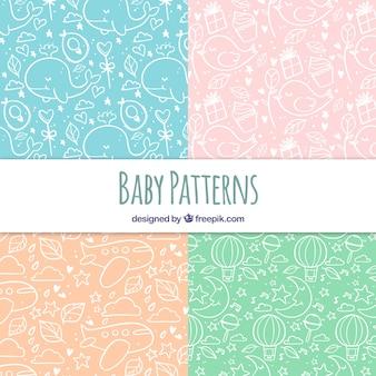 Baby muster sammlung mit niedlichen elementen