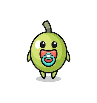 Baby-oliven-cartoon-figur mit schnuller, süßes design für t-shirt, aufkleber, logo-element