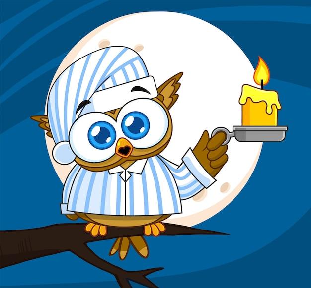 Baby owl bird cute character mit pyjama hält eine kerze. illustration mit hintergrund