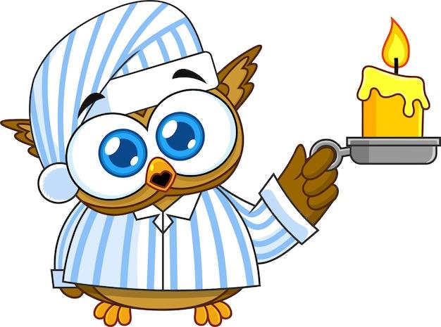 Baby owl cute cartoon-figur mit pyjamas, die eine kerze halten. illustration