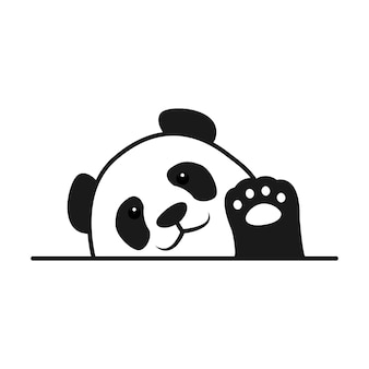 Baby panda winkt pfote cartoon