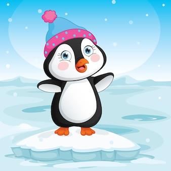 Baby-pinguin, der auf eis steht