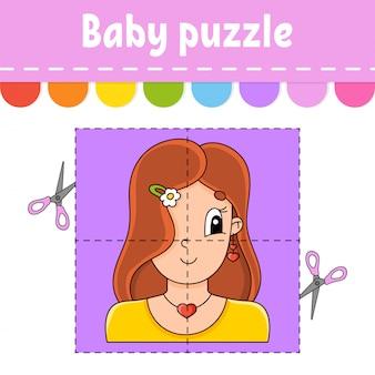 Baby puzzle. einfaches level. karteikarten. schneiden und spielen. angenehme schöne frau.
