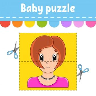 Baby puzzle. einfaches level. karteikarten. schneiden und spielen.