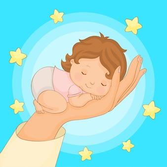 Baby schläft auf der hand