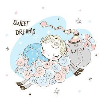 Baby schläft süß auf einem schaf. babydusche. süße träume.