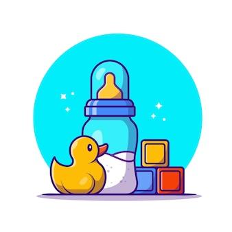 Baby schnuller mit milch und spielzeug cartoon icon illustration. bildungsobjekt-symbol-konzept isoliert. flacher cartoon-stil