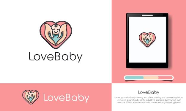 Baby shop logo vorlage mit dem konzept der liebe
