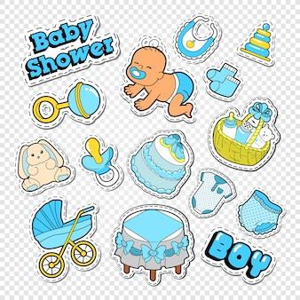 Baby shower doodle mit spielzeug und socken