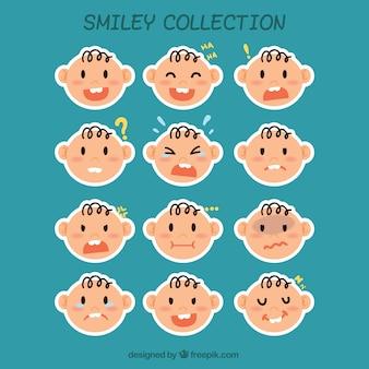 Baby-smiley-label kollektion Kostenlosen Vektoren