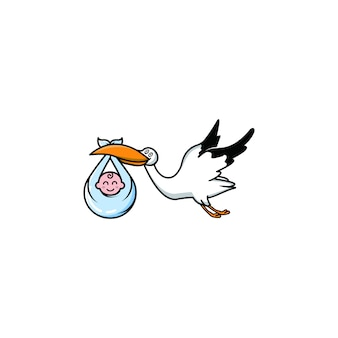 Baby storch logo illustration grafik vektor