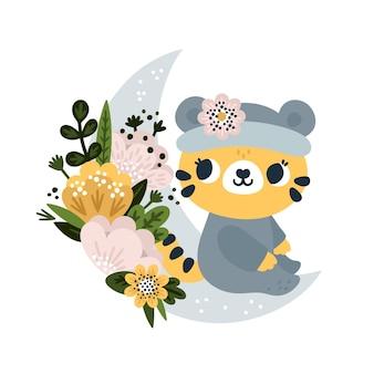 Baby-tiger mit blühenden blumen auf dem mond im cartoon-stil sitzend kleines gebrüll für kinder