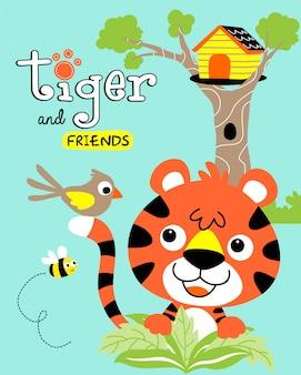Baby tiger mit kleinen freunden