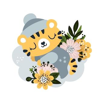 Baby-tiger sitzt im blühenden blumendschungel im cartoon-stil kleiner gebrülldruck für kinder