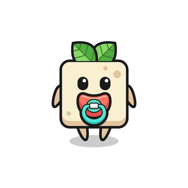 Baby-tofu-cartoon-figur mit schnuller, süßes design für t-shirt, aufkleber, logo-element