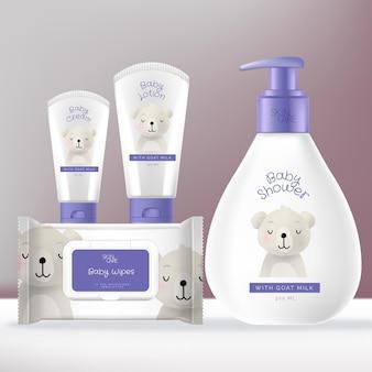 Baby-toilettenartikel oder hautpflege-verpackungspaket mit shampoo- oder baby-waschpumpenflasche, gesichts- und handcremetube und babywischtuch-folienbeutelpackung.