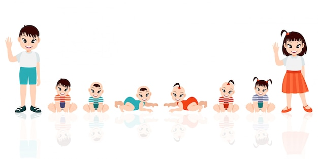 Baby und junge in reihe. satz kindergesundheits- und entwicklungssymbole in linie. ausmaß des babywachstums vom neugeborenen bis zum kleinkind. karikaturfigur mit flacher symbolfarbillustration