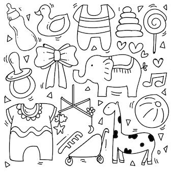 Baby- und neugeborenes gekritzel für symbol, banner. cartoon-skizze-stil-doodle mit baby- und jungenspielzeug, essen, ball, ballon, mond, stern, milchflasche, geburtstagselementen. handgezeichnete und vektorillustration