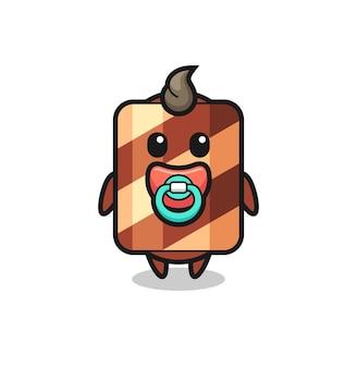 Baby-waffelrolle-cartoon-figur mit schnuller, süßes design für t-shirt, aufkleber, logo-element