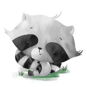 Baby-waschbär, der seinen eigenen schwanz hält
