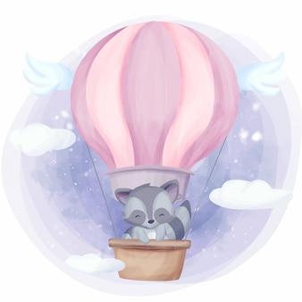 Baby-waschbär-fliege zum himmel mit luftballon