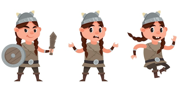 Baby wikinger in verschiedenen posen. weibliches kind im karikaturstil.
