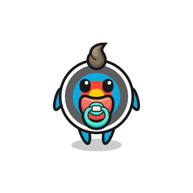 Baby-zielbogenschießen-cartoon-figur mit schnuller, süßes design für t-shirt, aufkleber, logo-element