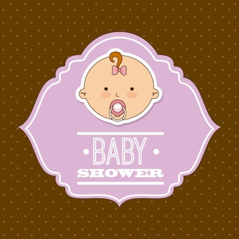Babydesign über brauner hintergrundvektorillustration