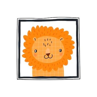 Babydruck mit einem niedlichen löwen im rahmen.