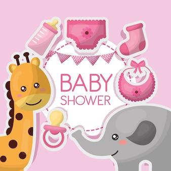 Babyduschekarte bewölkt rosa, giraffen-schnullerschellfischkleidung-elefantmädchenfeier