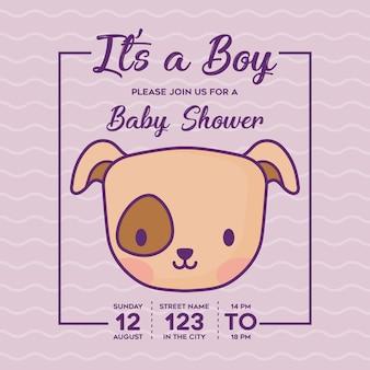 Babyduscheneinladung mit seinem ein jungenkonzept mit niedlicher hundeikone über purpurrotem hintergrund, buntes de