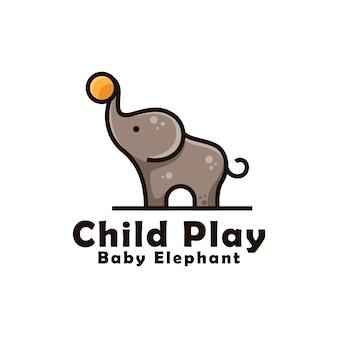 Babyelefant, der ball für kinderlogodesign spielt. niedliches baby elefanten maskottchen logo vorlage