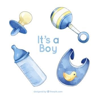 Babyelemente stellten in aquarellart ein