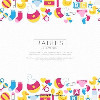 Babyelementhintergrund in der flachen art